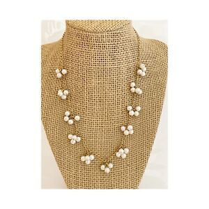 AVON VINTAGE GOLD TONE PIN SET FAUX PEARL FIXED PLACE BEADED NECKLACE