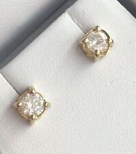 14k Yellow Gold 1.00TCW Diamond Stud Push Back Earrings