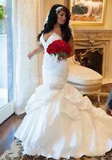 2018 New Mermaid White/Ivory satin Wedding Dress Bridal Gown Custom size  4 -28+