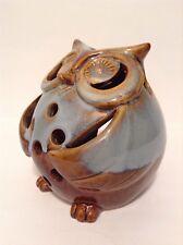"Ceramic Owl Tea Light Candle Holder Tan Brown Light Blue & White Glaze 5"" Tall E"