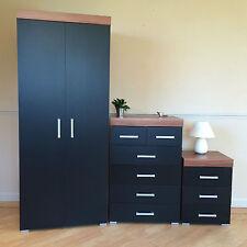 Bedroom Set Black & Walnut Wardrobe 4 2 Drawer Chest 3 Draw Bedside