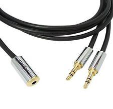 10 Metre HQ 3.5mm Socket to 2 x Jack Plugs Lead Aux Extension Cable Splitter