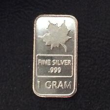 Maple Leaf 1 Gram Fractional Silver Bar Ingot A4453