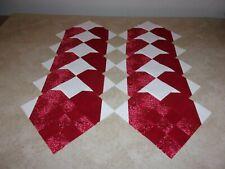 Set of 10 red pieced heart quilt blocks