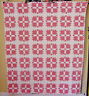 BEARS PAW ANTIQUE QUILT DOUBLE PINK w BLUE & BROWN DOTTED BACKGROUND c 1880s