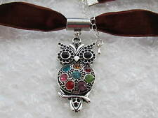 BROWN VELVET 15 mm  CHOKER/NECKLACE WITH CRYSTAL OWL