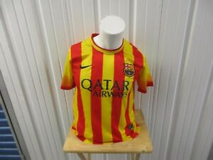 NIKE FC BARCELONA AUTHENTIC SMALL SEWN YELLOW/RED AWAY JERSEY 2013/14 KIT