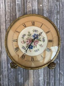 Rare Petit Point Wind Up Dressing Table Clock. Vintage Dressing Table Clock.