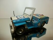 ASC JAPAN TIN TOY WILLY's JEEP - KLM AIRPORT SERVICES - BLUE L19.0cm - FRICTION