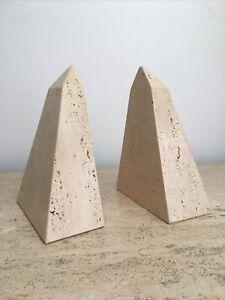 Mannelli Vtg Mid Century Modern Travertine Stone Obelisk Sculpture Bookend Italy
