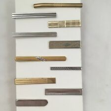 Tie Clip Bar Lot of 10 Geometric Linear Lines Rays Pattern Vintage Collection G1