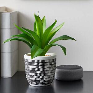 Artificial Green Leaf Plant in White Black Concrete Pot modern fake plants NEW