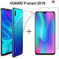 COVER per Huawei P Smart 2019 CUSTODIA TPU Clear + PELLICOLA VETRO TEMPERATO 9H