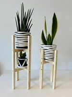 Plant stand pot double tier hand made 50 cm Tall by 20 Real Wood from UK home