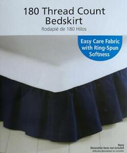 NAVY BLUE TWIN  SIZE RUFFLED  BED SKIRT BEDDING NEW