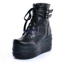 Chic Goth Punk Women's Lace Up Platform Thick Sole Ankle Boots Buckle Shoes New