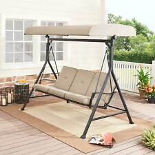 Plush Outdoor Patio Porch Swing Set Seats 3 Cushions Steel Adjustable Canopy Bei