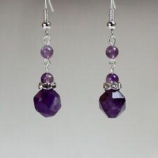 Purple amethyst gemstones silver drop dangle earrings wedding bridesmaid gift