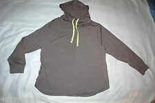 Womens Shirt ASH GRAY HOODED COWL NECK Neon Yellow Drawstring SIZE 1X 16W