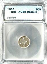 ICG 1860 Three Cent Pc Silver (AU-58)