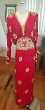 Vintage Lillie Rubin long sleeve floor length dress size small embroidery beads