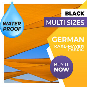 SHADE SAIL WATERPROOF RECTANGLE SQUARE TRIANGLE RIGHT ANGLE BLACK