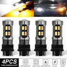 4x 3157 3156 Led Turn Signal Drl Light Bulbs Switchback 4157na 3457a White Amber
