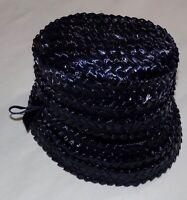 Vintage 60s Navy Blue Raffia Womens Bucket Cloche Hat M Church Fancy Straw