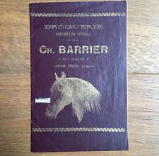 Ancien Catalogue Droguerie Vétérinaire CH. Barrier Paris