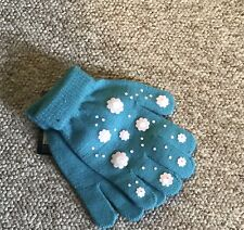 1 Pairs Children's Kids Magic Grip Gloves One Size Turquoise Snowflake