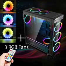 Gaming Computer Gehäuse mit 3 RGB Lüfter 120mm  ATX Mid Tower USB 3.0 PC Case