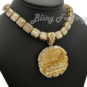 """Hip Hop Last Supper Pendant & 16"""" 18"""" Full Iced Choker Bust Down Chain Necklace"""