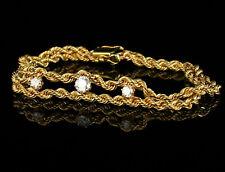UNOAERRE VINTAGE ESTATE NATURAL 3/4ctw DIAMOND 14K GOLD ROPE CHAIN BRACELET