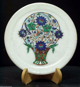 White Marble Round Serving Dish Plate Malachite Inlay Marquetry Kitchen Decor