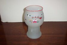 "Pfaltzgraff China Christmas Village 7.75"" Frosted Glass Pillar Candle Hurricane"