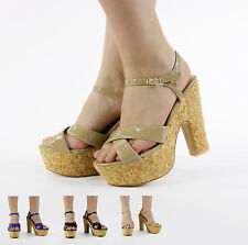 NEW WOMEN STRAPPY PLATFORM HIGH HEEL CUT OUT CORK SANDAL SHOES SIZE 3-8