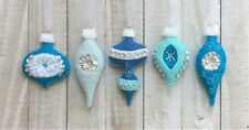Christmas Ornament Felt Embroidery Kit Vintage Style in Silver and Blues Makes 5