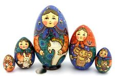 UNIQUE Russian nesting dolls 5 HAND PAINTED EGG Martryoshka & Teddy TOYS RYABOVA