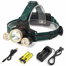 XML 3 T6 LED Kopflampe 8000Lm Zoomable LED Stirnlampe Headlight Ladege+18650 AKU