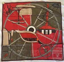 Hermes Scarf Carre Twill %100 Silk 90cm Petit Duc Rouge Authentic Excellent