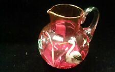 Handpainted Gold Rimmed Cranberry Pitcher with Heron and Flowers