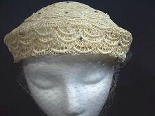 Hat Cap Wedding Lace Cream Off-White Rhinestones Netting Vintage 1950s Bridal