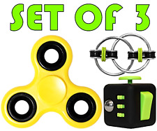 Stress Reducer Set of 3 : Fidget Spinner ,Cube ,Ring Toys EDC Focus Kids Adults