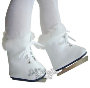 """For 14.5"""" WELLIE WISHERS White Fur Trimmed Ice Skates Doll Clothes"""