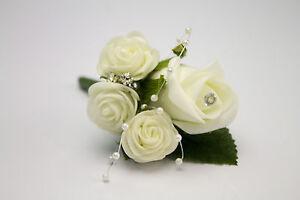 Groom/Best man Wedding Buttonhole with Diamante Pin & DIAMANTE & PEARL SPRAY