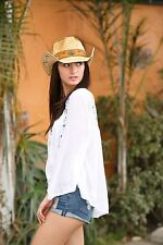 LADIES RAFFIA COWBOY HAT - 3 OF 22 DESIGNS - TEA STAIN -- NEW