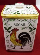 """UCAGCO PY dinnerware EARLY PROVINCIAL Square Sugar Canister 5-3/4"""" chip/crack"""