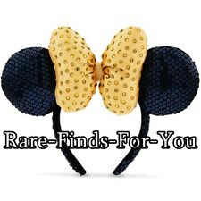 Disney Park Minnie Mouse Gold Faceted Gems Bow Sequin Ear Headband Cap Hat (NEW)