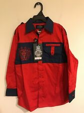 """NWT Boys Size 8 """"Montero Jeans"""" Long Sleeve Shirt Red & Blue"""