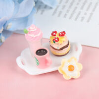 1:12 Dollhouse Miniature Tray Strawberry Cake Ice Cream Beverage Coffee 3C